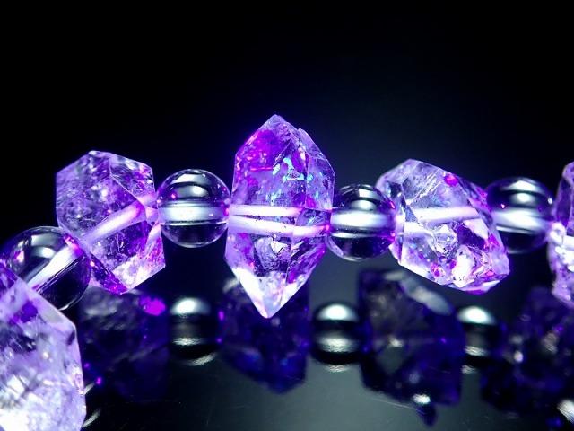 超透明 4A!古代の石油を内包した激レア水晶 水晶&オイルクォーツ結晶 デザインブレスレット 石サイズ幅約12-15mm・水晶6mm パキスタン産
