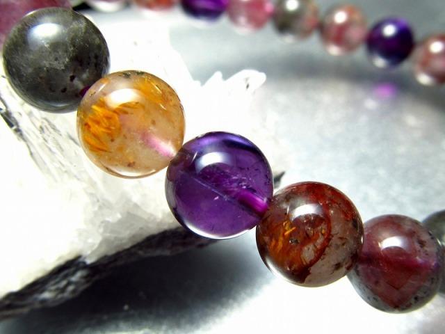 超希少 オーラライトブレスレット 8mm-8.5mm×23珠 鮮やか発色 複数の鉱物を内包した水晶 聖なるブループリントの石 カナダ産