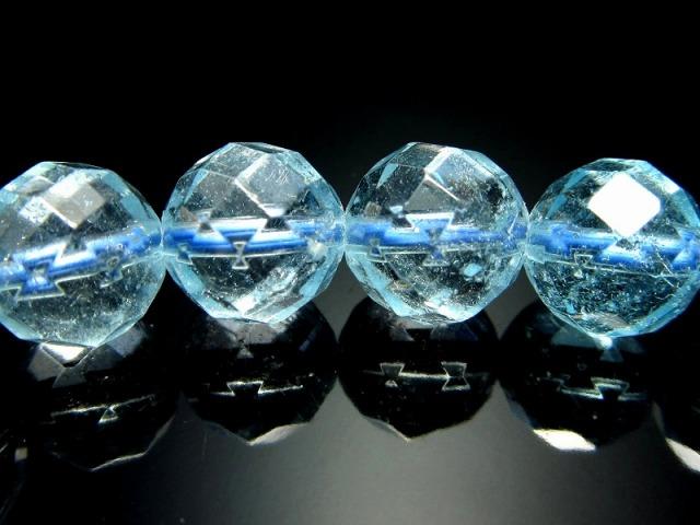 キラキラミラーボールカット AAA+ 超透明 ブルートパーズ ブレスレット 8mm-8.5mm×22珠 11月の誕生石 明るい希望をもたらす石 ブラジル産