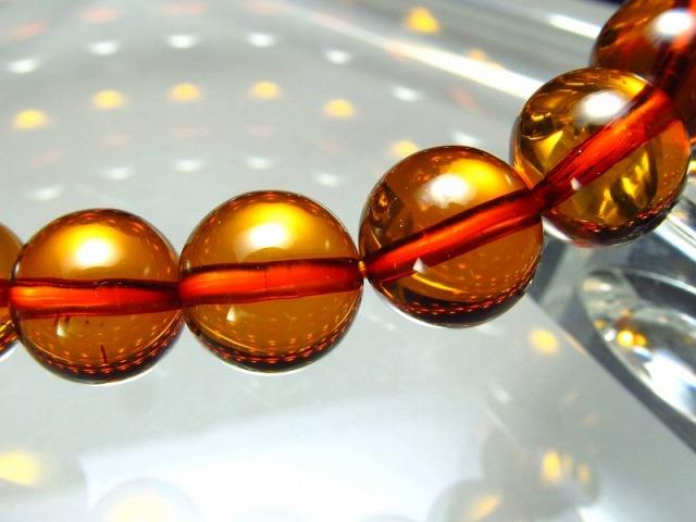 5A 超透明 コニャックアンバー(天然琥珀)ブレスレット 約8mm×24珠 琥珀の王道 バルト海産