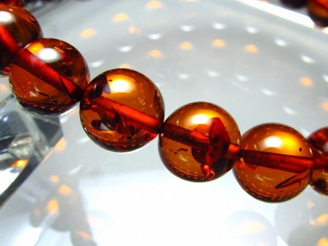 5A 超透明 ダークブランデーアンバー(天然琥珀)ブレスレット 約8.5mm×23珠 深みのあるシックなブランデーカラー 東欧の宝石 バルト海産