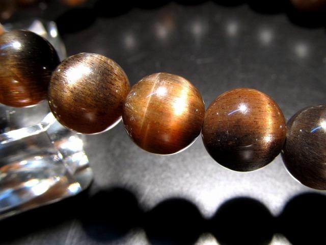 4A 神秘的なツートンタイプ バイカラーサンストーン ブレスレット 8.5mm-9mm×23珠 ゴールド&ブラックカラー キャッツアイ効果あり 日長石 インド産