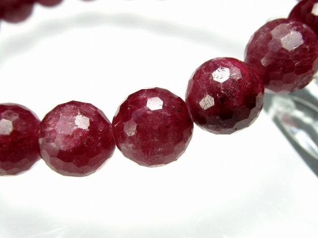 3A+ ブラッディルビー(紅玉)ミラーボールカット ブレスレット 8.5mm-9mm×21珠 勝利と情熱を象徴する石 妖艶濃厚真紅 ナイジェリア産