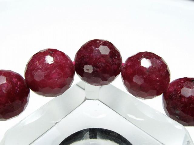 3A+ ブラッディルビー(紅玉)ミラーボールカット ブレスレット 9mm-9.5mm×20珠 勝利と情熱を象徴する石 妖艶濃厚真紅 ナイジェリア産