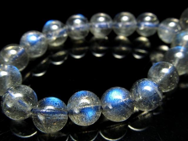 超透明 5A ラブラドライト ブレスレット 6.5mm-7mm×26珠 信念を貫く力 上質ハッキリシラー効果 マダガスカル産