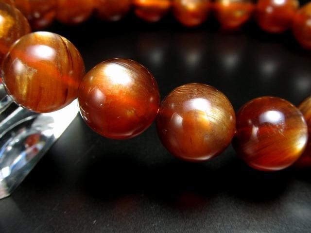 激レア 濃いタイプ プラジオクレース・ムーンストーン 天然フェルドスパー ブレスレット 10mm-10.5mm×19珠 濃厚なディープオレンジ 3種のシラー効果あり 少量限定の超希少石 一点もの チベット産