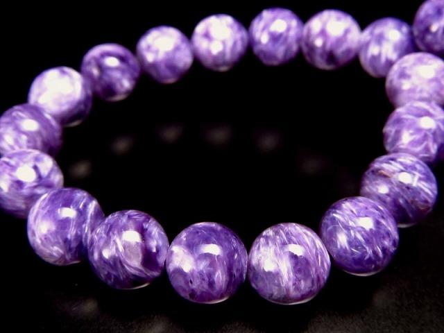 オススメ濃厚紫 5A チャロアイト(チャロ石)ブレスレット 7mm-7.5mm×25珠 妖艶マーブル 鮮やかパープル 人徳を高める ロシア産