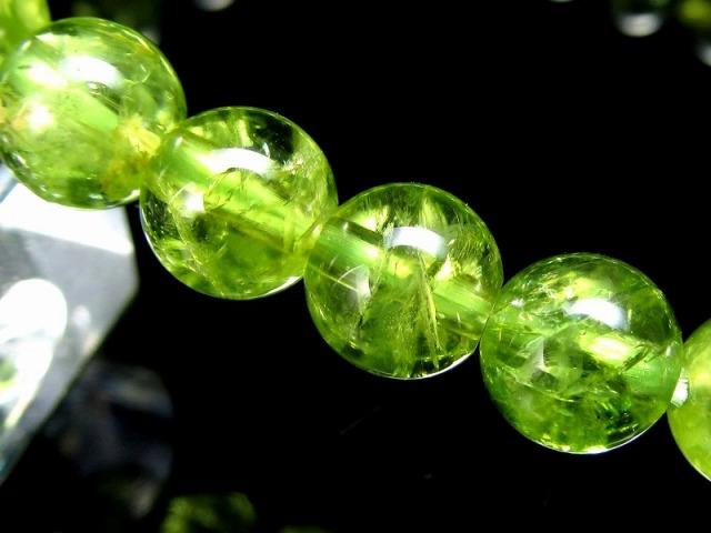3A+ 超透明 ペリドット ブレスレット 6.5mm-7mm×27珠 (かんらん石) オリーブグリーン 8月誕生石 煌めく黄緑色 イブニングエメラルド 夜の宝石 一点もの ミャンマー産