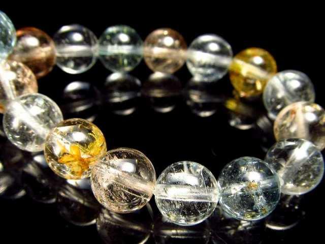 虹入り 4A ライモナイト入り MIXカラートパーズ(黄玉) ブレスレット 8mm-8.5mm×23珠 輝くキラキラカット 人気のブルーやシャンパン、カラーレスも 11月の誕生石 ブラジル産
