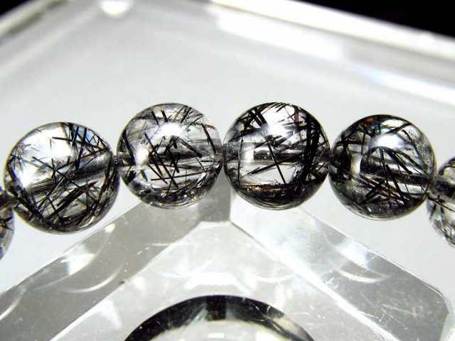 濃密繊細黒針たっぷり 4A+ 爆発ブラックルチルクォーツ ブレスレット 7.5mm-8mm×25珠 透明度抜群 最強勝ち運ブレス ブラジル産