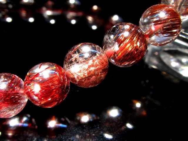 豪華!!様々なカラーの針入り! 4A 福禄寿 MIXルチルクォーツ ブレスレット 8mm-8.5mm×23珠 全ての願望を叶える福禄寿 一点もの ブラジル産