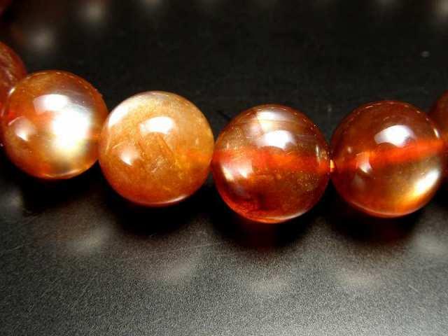 激レア 濃いタイプ プラジオクレース・ムーンストーン 天然フェルドスパー ブレスレット 9.5mm-10mm×21珠 濃厚なディープオレンジ 3種のシラー効果あり 少量限定の超希少石 一点もの チベット産