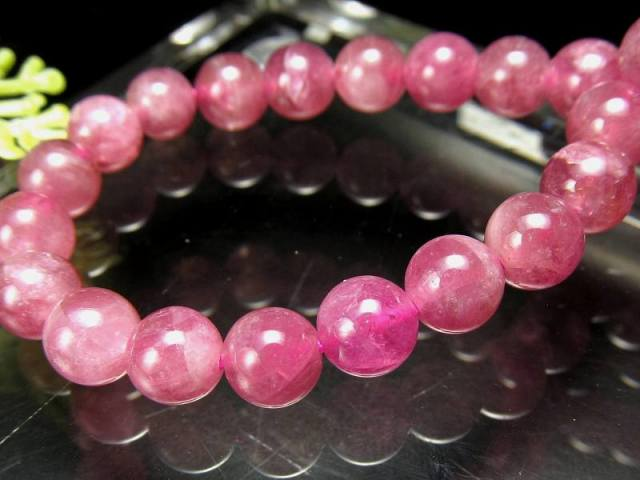 4A+ ルベライト(ピンクトルマリン)ブレスレット 6.5mm×29珠 超透明ピンク 10月の誕生石 電気石 ブラジル産