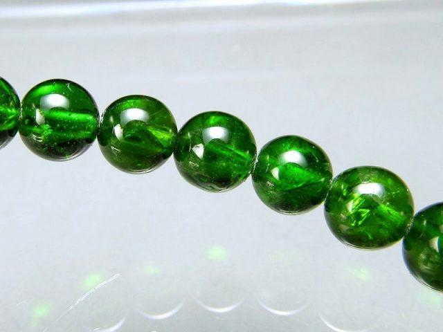 4A クロムダイオプサイト ブレスレット 6mm-6.5mm×30珠 超透明宝石質 深みのある鮮やかな緑色 知恵と叡智の石 一点もの ロシア産