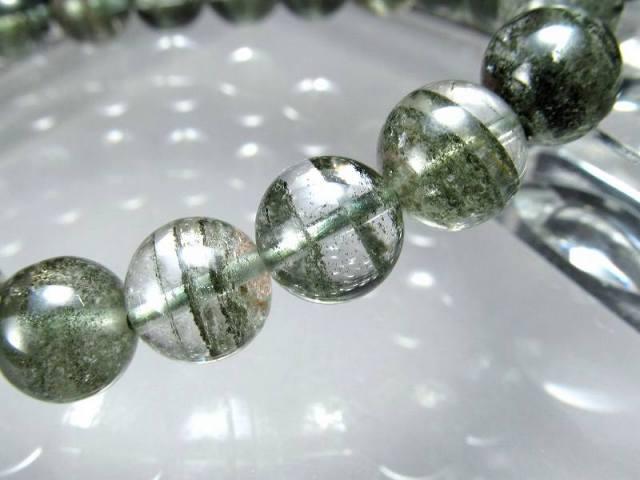 くっきり濃緑クローライト 4A グリーンガーデンファントムクォーツ ブレスレット 9mm×21珠 濃厚グリーン 健康と長寿の石 緑庭園幻影水晶 一点もの ブラジル産
