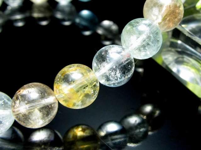 4A 超透明 ライモナイト入り MIXカラートパーズ(黄玉) ブレスレット 8mm-8.5mm×23珠 輝くキラキラ 人気のブルーやシャンパン、カラーレスも 11月の誕生石 一点もの ブラジル産