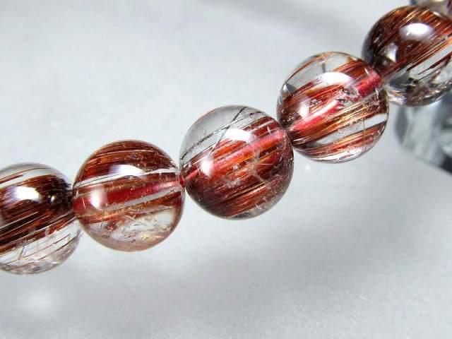 束針 4A レッド ブラウン タイチンルチルブレスレット 7mm-7.5mm×25珠 透明赤針 褐色レッドルチル 極上天然石 一点もの ブラジル産