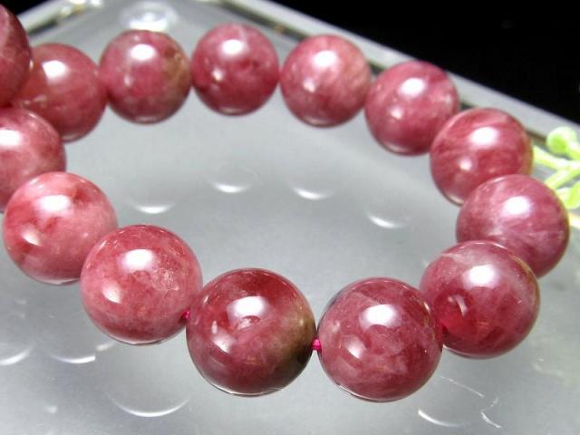 3A ウォーターメロン珠有り ピンクトルマリン(電気石)ブレスレット 9.5mm-10mm×20珠 シックな美結晶 10月の誕生石 透明感あり 一点もの ブラジル産