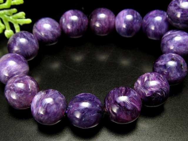 濃厚紫 4A+ チャロアイト(チャロ石)ブレスレット 9mm-9.5mm×21珠 妖艶マーブル 鮮やかパープル 人徳を高める 一点もの ロシア産