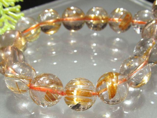 超透明 4A ゴールドルチル ブレスレット 9mm-9.5mm×21珠 超透明水晶 芸術的なキラキラ金針 極上天然石 一点もの ブラジル産