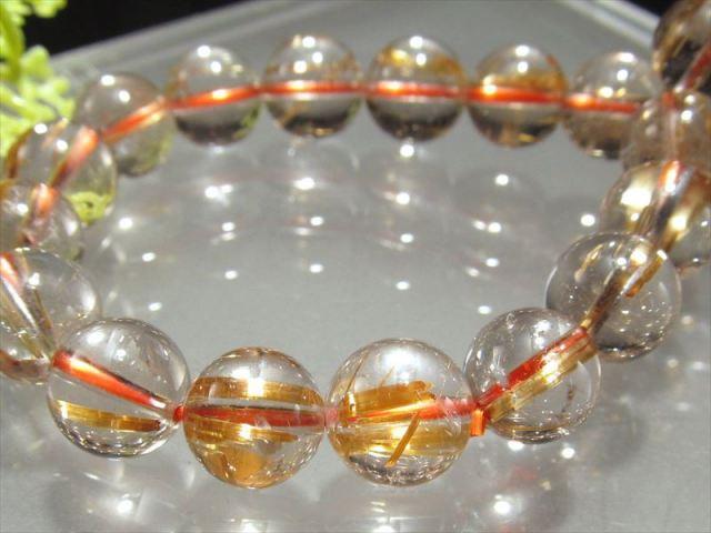 超透明 4A ゴールドルチル ブレスレット 8.5mm-9mm×22珠 超透明水晶 芸術的なキラキラ金針 極上天然石 一点もの ブラジル産