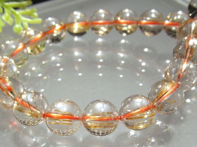 超透明 4A ゴールドルチル ブレスレット 7mm-7.5mm×25珠 超透明水晶 芸術的なキラキラ金針 極上天然石 一点もの ブラジル産