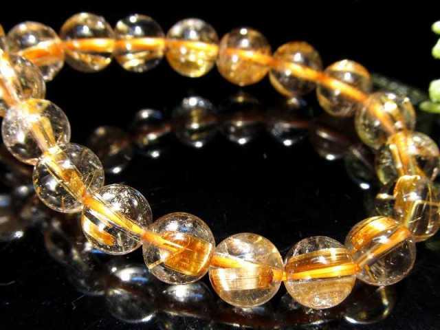 超透明 4A タイチン針有り ゴールドルチル ブレスレット 7mm-7.5mm×25珠 超透明水晶 芸術的なキラキラ金針 極上天然石 一点もの ブラジル産