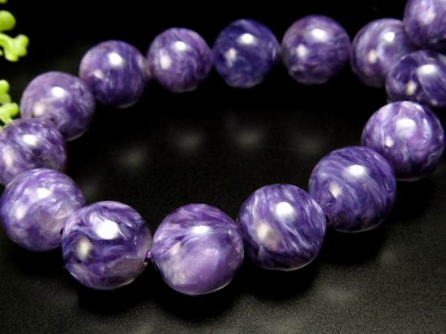 オススメ濃厚紫 5A チャロアイト(チャロ石)ブレスレット 9mm-9.5mm×21珠 妖艶マーブル 鮮やかパープル 人徳を高める ロシア産
