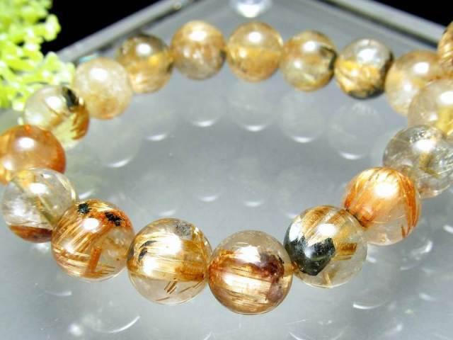 希少な母岩入り 母岩ヘマタイト付き 太陽タイチン ゴールドルチル ブレスレット 8.5mm-9mm×22珠 煌々と輝く板状タイチン入り 一点もの ブラジル産