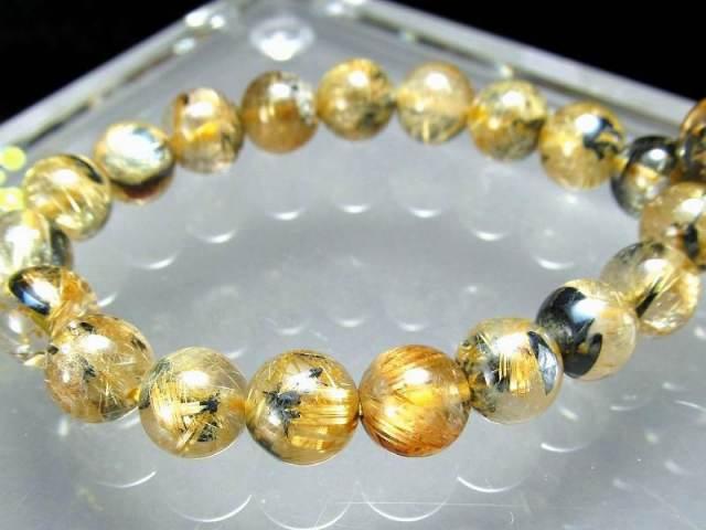 希少な母岩入り 母岩ヘマタイト付き 太陽タイチン ゴールドルチル ブレスレット 7.5mm-8mm×25珠 煌々と輝く板状タイチン入り 一点もの ブラジル産
