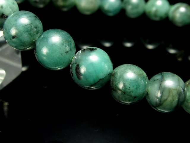 4A 極上艶感 濃色グリーン エメラルド ブレスレット 7mm-7.5mm×25珠 世界四大宝石の一つ 愛成就のお守り 叡智の象徴 翠玉 5月の誕生石 1点もの コロンビア産