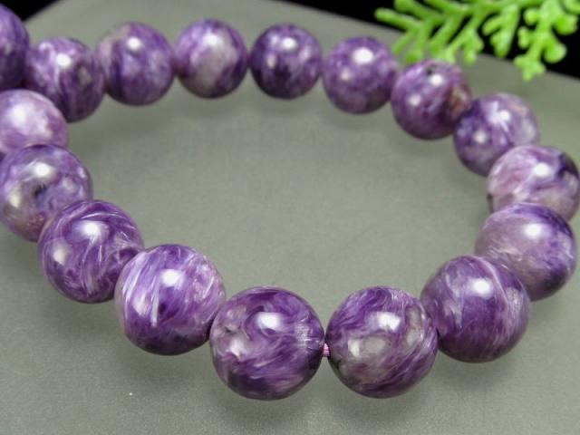 明るめ紫 4A チャロアイト(チャロ石)ブレスレット 9mm-9.5mm×21珠 妖艶マーブル 鮮やかパープル 人徳を高める 一点もの ロシア産