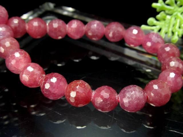 シックなピンクパープル ルビー ミラーボールカットブレスレット 6.5mm-7mm×28珠 宝石の女王 紅玉 勝利と情熱を象徴する石 一点もの ミャンマー産