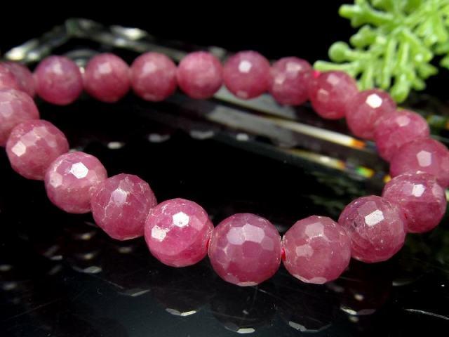 シックなピンクパープル ルビー ミラーボールカットブレスレット 6.5mm-7mm×29珠 宝石の女王 紅玉 勝利と情熱を象徴する石 一点もの ミャンマー産