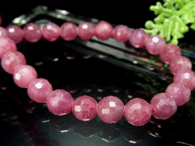 シックなピンクパープル ルビー ミラーボールカットブレスレット 6mm-6.5mm×32珠 宝石の女王 紅玉 勝利と情熱を象徴する石 一点もの ミャンマー産