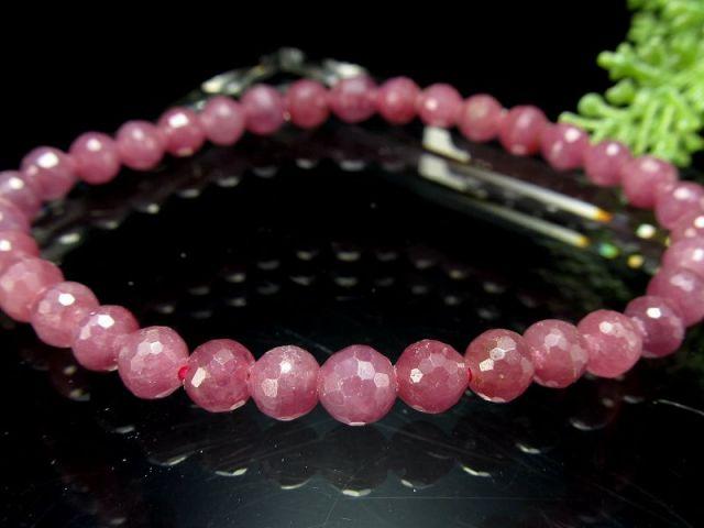 シックなピンクパープル ルビー ミラーボールカットブレスレット 5mm-6mm×34珠 宝石の女王 紅玉 勝利と情熱を象徴する石 一点もの ミャンマー産