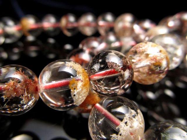 3A+ ガーデンクォーツ(庭園水晶)ブレスレット 約10mm-10.5mm×19珠前後 透明感抜群 色とりどりガーデン ブラジル産