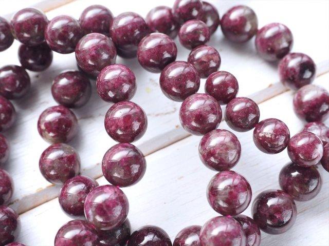 パープルトルマリンペグマタイト(シベライトインクォーツ) ブレスレット 約7mm×26珠前後 シックで妖艶なパープルカラー 電気石 ブラジル産