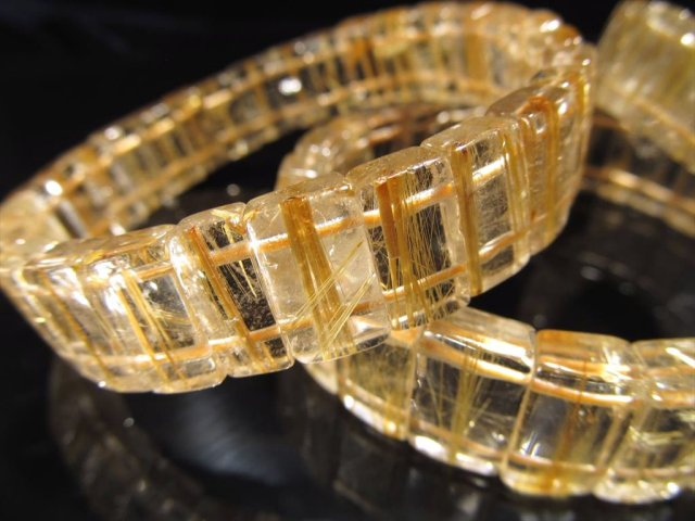 ゴールドルチルクォーツ バングルブレスレット 幅約12mm キラキラ輝く繊細金針 ブラジル産