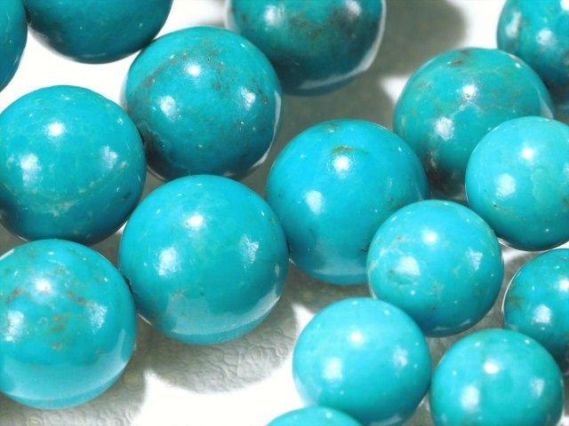 2A 天然ターコイズ(トルコ石)ブレスレット 約10mm-10.5mm×19珠前後 空青色 古代より崇められた神聖な石 旅のお守り 12月の誕生石 アリゾナ産