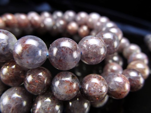 ブラッドショット アイオライト(きんせい石) ブレスレット アイオライトとサンストーンの特性 予言の石 8mm-8.5mm×23珠前後 インド産