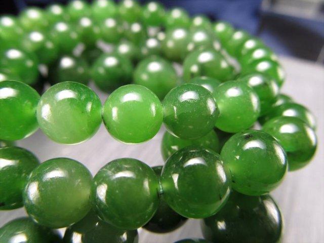 ロシアンジェイド(軟玉翡翠ネフライト)ブレスレット 約7.5mm×24珠前後 フレッシュなモスグリーン 透明感あり 成功と繁盛の象徴 ロシア産