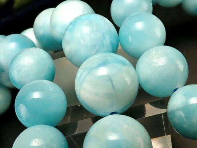 AAA ブルーカルサイト ブレスレット 10mm-10.5mm×19珠前後 窮地から救済する石 まるでラリマー ミルキーで淡い色合い モンゴル産