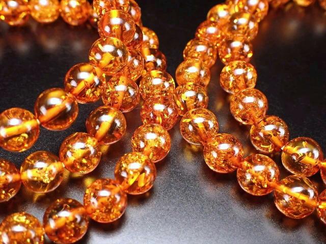 5A ブランデーナッツアンバー(天然琥珀)ブレスレット 約6.5mm×28珠前後 極上煌き スパークル シック 東欧の宝石 バルト海産