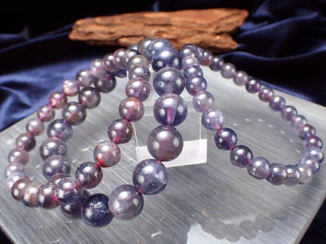 3A アイオライト(きんせい石)ブレスレット 6.5mm-7mm×27珠前後 透明感 輝くアベンチュレッセンス入りも 夢目標へと導く石 スリランカ産