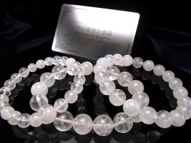 ホワイト&透明タイプのMIX マニカランクォーツ ブレスレット 10mm-10.5mm×20珠前後 パワースポットの最高峰ヒマラヤ山脈 ギャランティカード付き マニカランパールヴァティー渓谷産