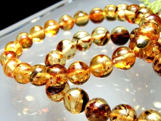 メープルハニーアンバー(琥珀)ブレスレット 9mm-9.5mm×20珠前後 東欧の宝石 キラキラ飴色模様 プレスアンバー バルト海産
