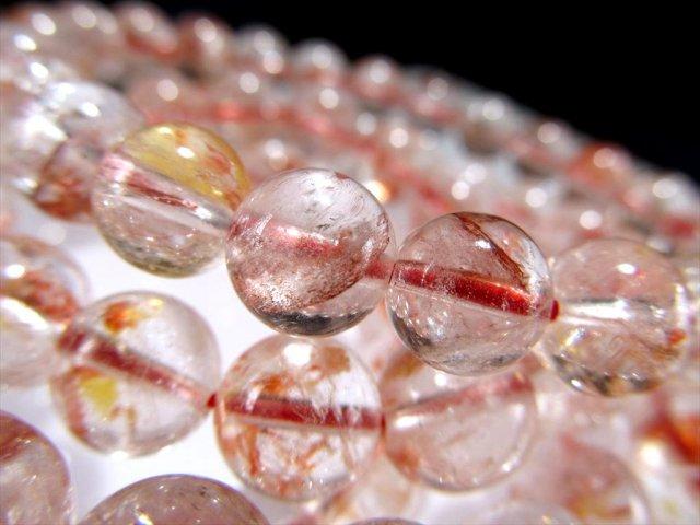 シンフォニックオーロラクォーツ(ライモナイトインクォーツ)ブレスレット 11.5mm-12mm×18珠前後 幻想的インクルージョン 赤や黄色に色付いた水晶 マダガスカル産