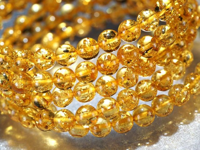 5A ハニーナッツアンバー(天然琥珀)ブレスレット 約5.5mm×34珠前後 蜂蜜色 超透明 極上煌きスパークル バルト海産