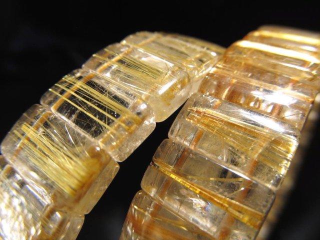 ゴールドルチルクォーツ バングルブレスレット 幅約13mm キラキラ輝く繊細金針 ブラジル産